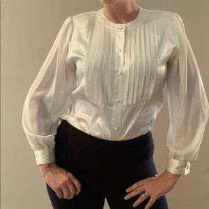 Vintage Pintucked White Blouse Sheer Sleeves